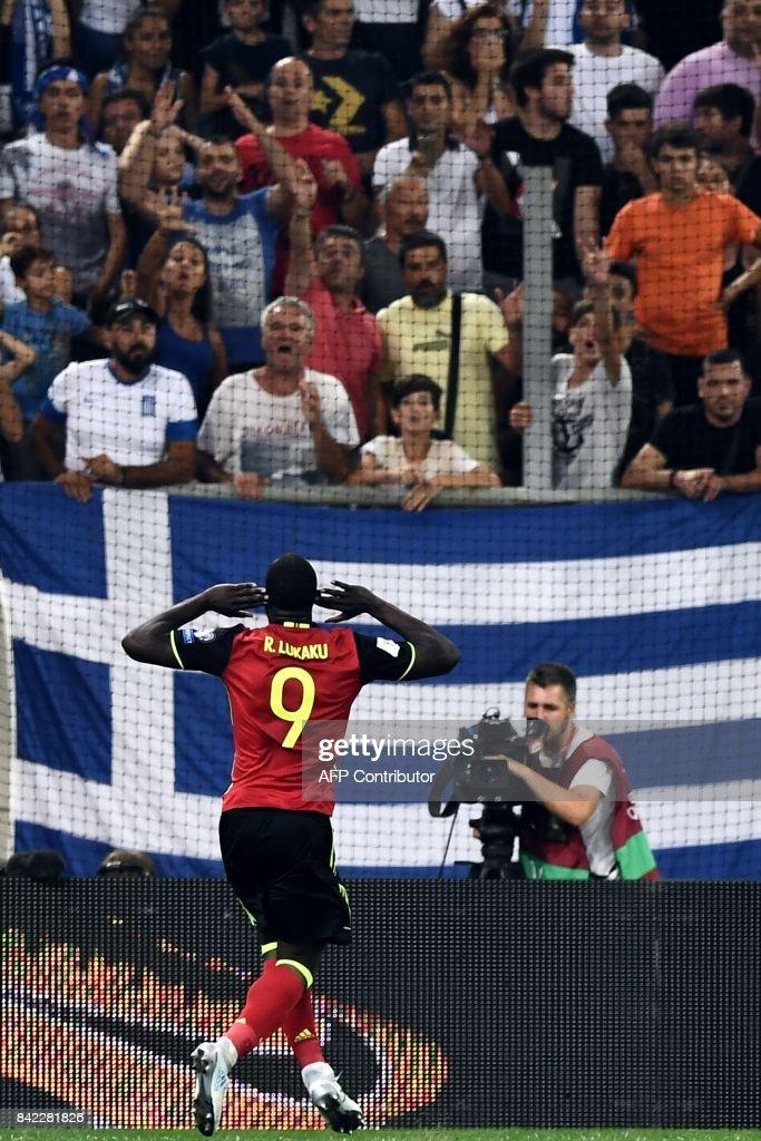 Belgium's Romelu Lukaku celebrates after scoring during their Group H 2018 FIFA World Cup qualifying football match between Greece and Belgium at The Georgios Karaiskakis Stadium in Piraeus near Athens on September 3, 2017. /