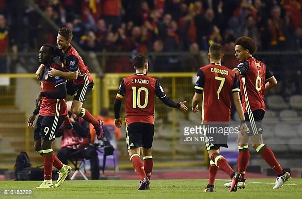 Belgium's Romelu Lukaku celebrates with teammates after scoring during the Fifa WC 2018 football qualification match between Belgium and Bosnia and...