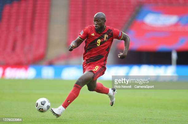 Belgium's Romelu Lukaku during the UEFA Nations League group stage match between England and Belgium at Wembley Stadium on October 11, 2020 in...