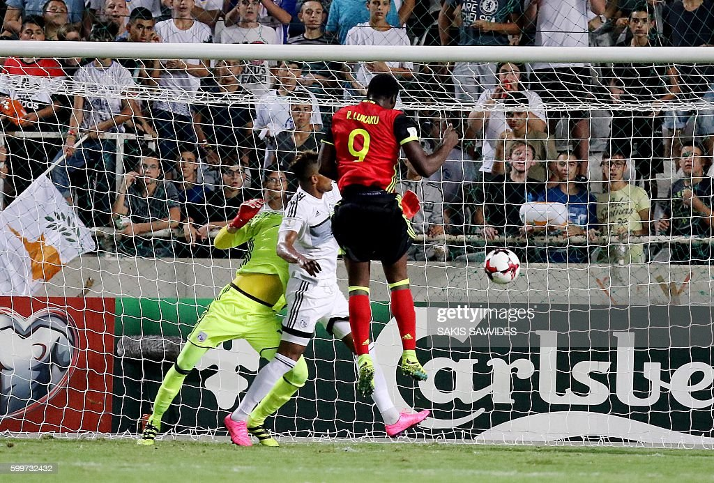 Belgium's Romelu Lukaku (C) scores a second goal during the World Cup 2018 Europe qualifying football match Cyprus versus Belgium on September 6, 2016 at the GSP Stadium in Nicosia. / AFP / Sakis Savvides
