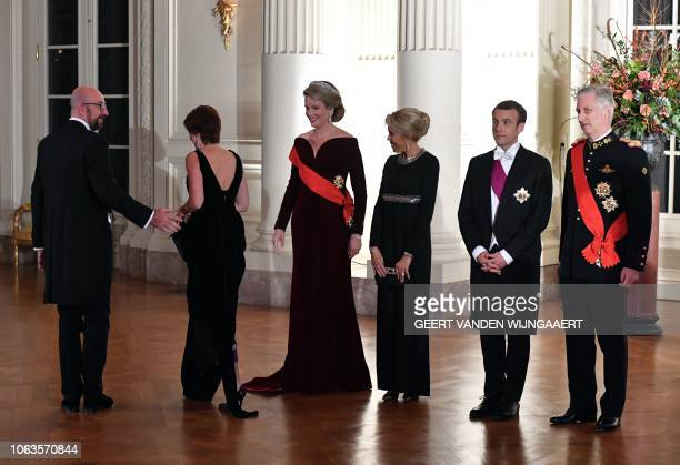 Belgium's royal couple Philippe of Belgium and Mathilde of Belgium French President Emmanuel Macron and his wife Brigitte Macron welcome Belgium's...