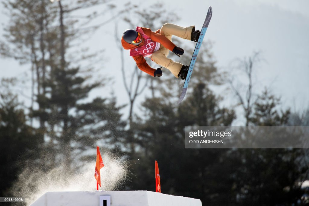 Belgium's Seppe Smits competes during the qualification of the men's snowboard big air event at the Alpensia Ski Jumping Centre during the Pyeongchang 2018 Winter Olympic Games in Pyeongchang on February 21, 2018. / AFP PHOTO / Odd ANDERSEN