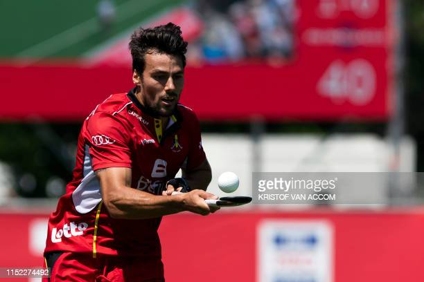 Belgium's Simon Gougnard pictured in action during a field hockey game between Belgium's national team Red Lions and Argentina Sunday 23 June 2019 in...