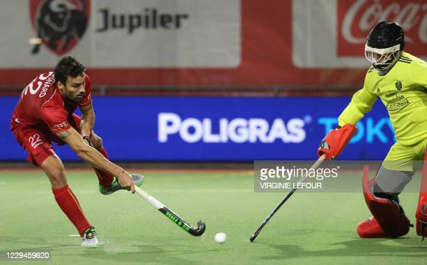 Belgium's Simon Gougnard scores his shoot out during a hockey game between the Belgian Red Lions and the Netherlands' national team, Wednesday 04...