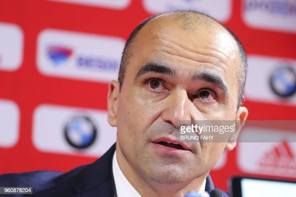 Belgium's Spanish head coach Roberto Martinez addresses a press conference to announce the squad of the Belgian national football team Red Devils for...