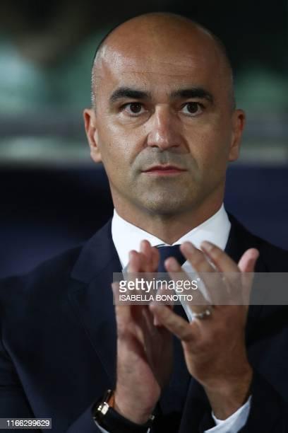 Belgium's spanish head coach Roberto Martinez attends the Euro 2020 qualifier football match San Marino vs Belgium on September 6 2019 at the Olympic...