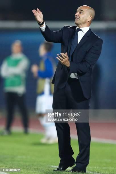 Belgium's spanish head coach Roberto Martinez gives instructions during the Euro 2020 qualifier football match San Marino vs Belgium on September 6...