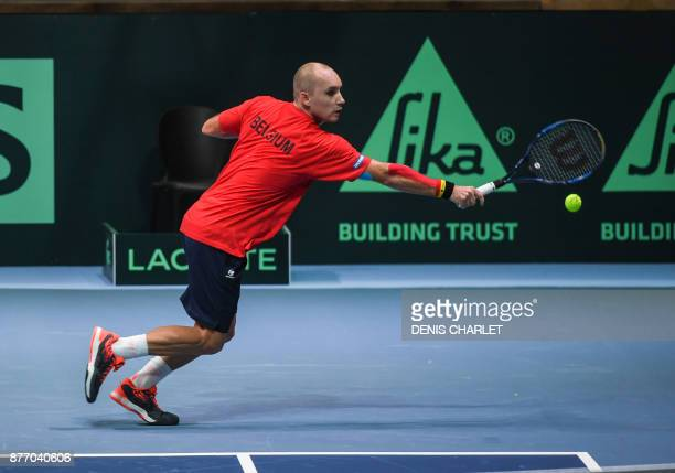 Belgium's Steve Darcis practices during a training session on November 21, 2017 at the Pierre-Mauroy stadium in Villeneuve d'Ascq, ahead of the Davis...