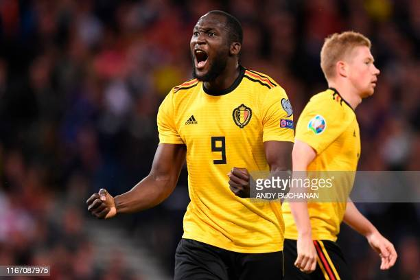 Belgium's striker Romelu Lukaku celebrates scoring the opening goal during the the Euro 2020 football qualification match between Scotland and...