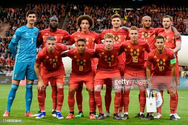 Belgium's team players Belgium's defender Toby Alderweireld Belgium's midfielder Youri Tielemans Belgium's midfielder Kevin De Bruyne Belgium's...