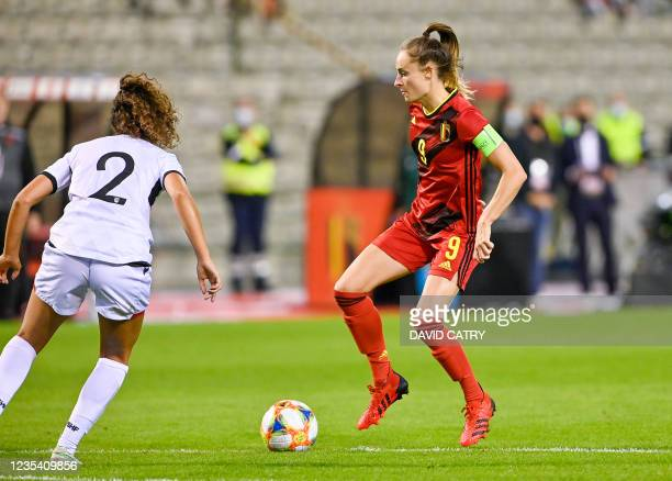 Belgium's Tessa Wullaert pictured in action during a soccer game between Belgium's national team the Red Flames and Albania, Tuesday 21 September...