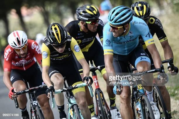 Belgium's Thomas De Gendt Netherlands' Antwan Tolhoek France's Damien Gaudin Spain's Omar Fraile and France's Jerome Cousin ride during their early...