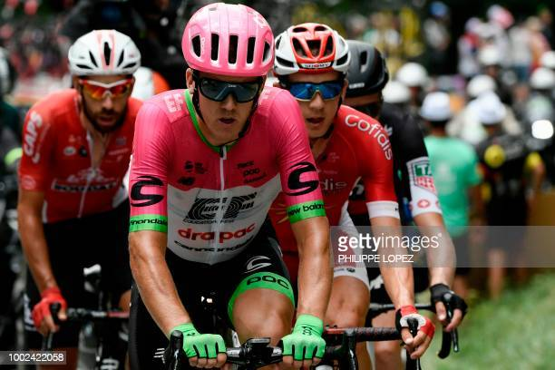 Belgium's Thomas De Gendt New Zealand's Tom Scully Belgium's Dimitri Claeys and Switzerland's Michael Schar ride during their fourmen breakaway in...