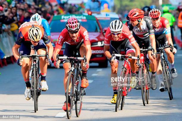 Belgium's Thomas De Gendt of team LottoSoudal wins the 19th stage of the 72nd edition of 'La Vuelta' Tour of Spain cycling race a 1497 km route from...