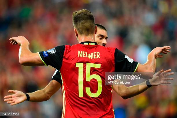 Belgium's Thomas Meunier celebrates after scoring a goal during the WC 2018 football qualification football match between Belgium and Gibraltar at...