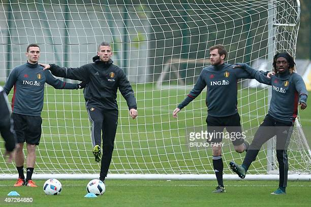 Belgium's Thomas Vermaelen Belgium's Toby Alderweireld Belgium's Nicolas Lombaerts and Belgium's Luis Pedro Cavanda attend a training session of the...