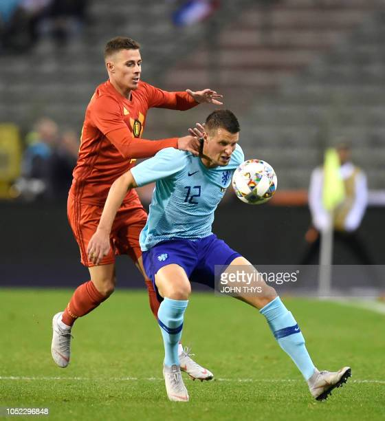 Belgium's Thorgan Hazard vies with Netherlands' Hans Hateboer during the friendly football match between Belgium and the Netherlands at the King...