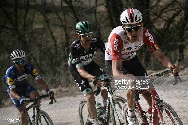 Belgium's Tiesj Benoot rides through the Monte Sante Marie ascent during the one-day classic cycling race Strade Bianche on March 9, 2019 in Siena,...