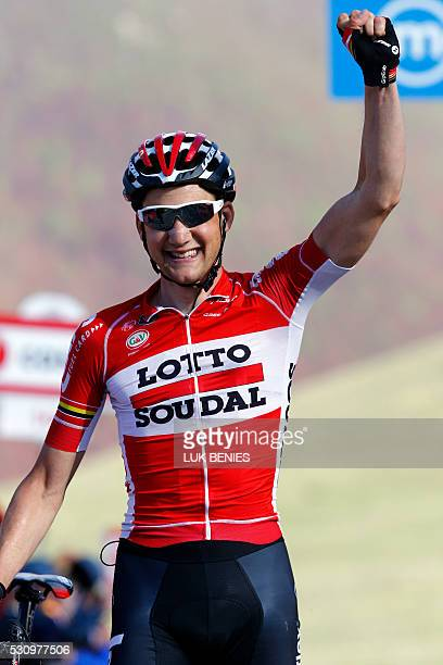 Belgium's Tim Wellens of Lotto Soudal team celebrates after winning the sixth stage a 157km ride from Ponte to Roccaraso during the 99th Giro...