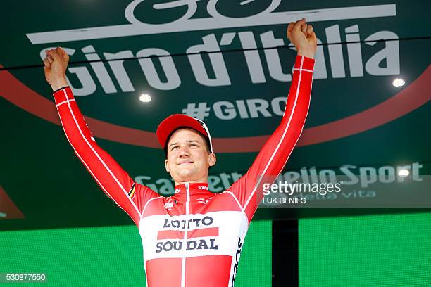 Belgium's Tim Wellens of Lotto Soudal team celebrates on the podium after winning the sixth stage a 157km ride from Ponte to Roccaraso during the...