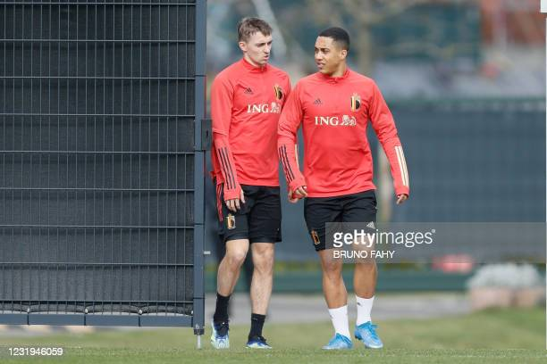 Belgium's Timothy Castagne and Belgium's Youri Tielemans pictured during a training session of the Belgian national team Red Devils, Friday 26 March...