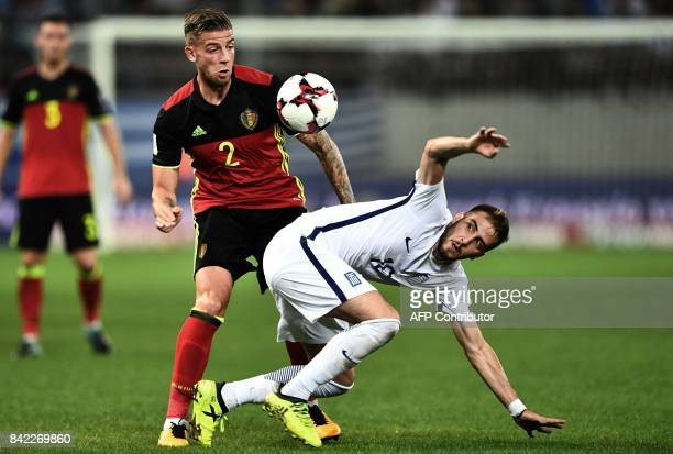 Belgium's Toby Alderweireld fights for the ball with Greece's Kostas Fortounis during their Group H 2018 FIFA World Cup qualifying football match...