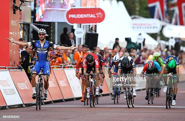Belgium's Tom Boonen of Etixx Quick Step celebrates after winning the sprint during the Prudential RideLondon Surrey Classic on July 31 2016 in...
