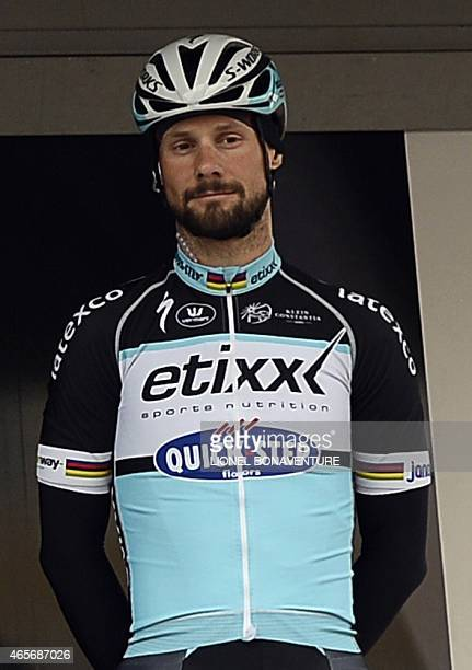 Belgium's Tom Boonen of the EtixxQuick Step cycling team poses during the signature ceremony ahead of the start of the first stage of the 73rd...