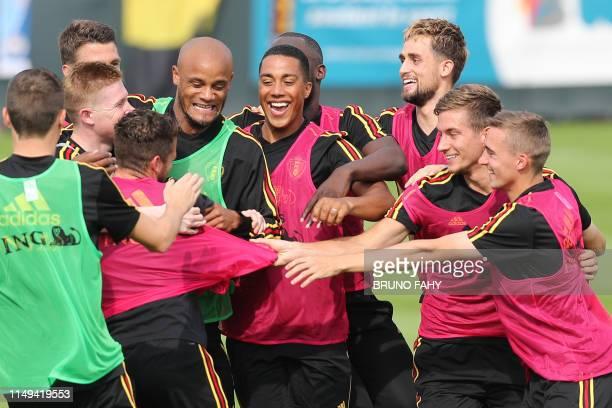 Belgium's Vincent Kompany Belgium's Youri Tielemans Belgium's Adnan Januzaj Belgium's Dennis Praet and Belgium's Timothy Castagne pictured during a...