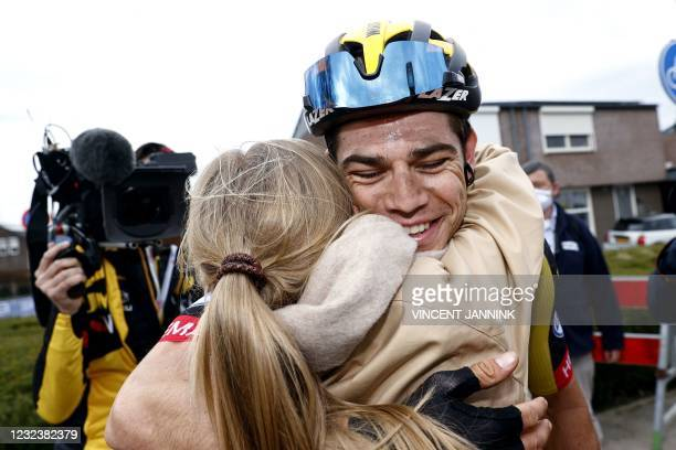Belgium's Wout van Aert celebrates his victory with his wife Sarah De Bie following the Amstel Gold Race in Valkenburg on April 18, 2021. - Wout van...