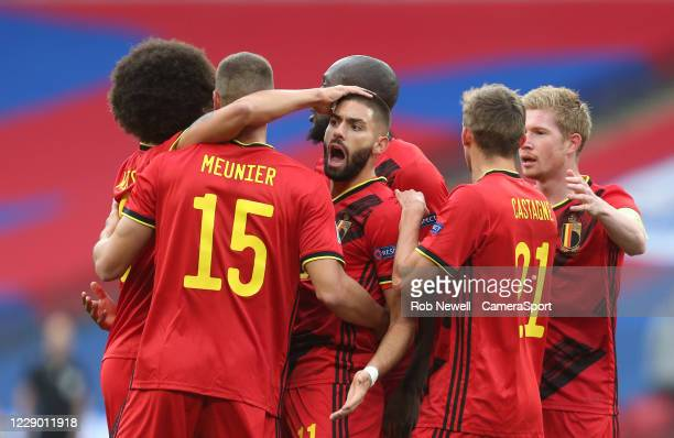 Belgium's Yannick Carrasco realises his first half goal has been disallowed during the UEFA Nations League group stage match between England and...