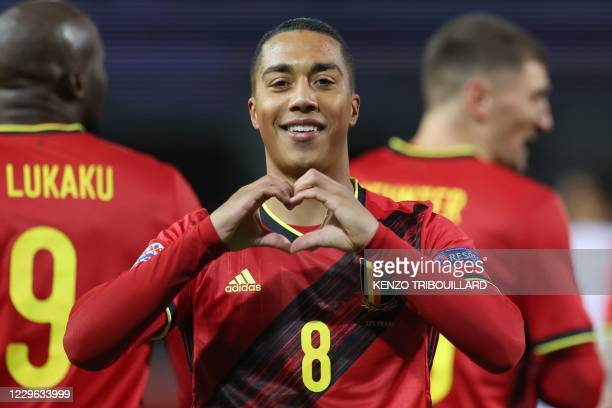 Belgium's Youri Tielemans celebrates after scoring a goal during the UEFA Nations League football match between Belgium and England, on November 15,...