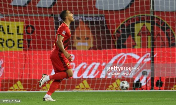 Belgium's Youri Tielemans celebrates after scoring during a soccer game between the Belgian national team Red Devils and Denmark, Wednesday 18...