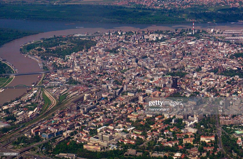 Belgrade airplane view : Stock Photo