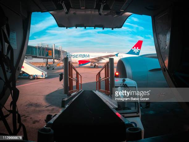 Belgrade airport commercial airplane