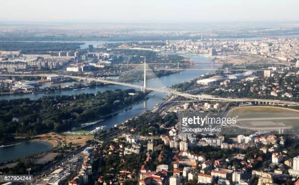 belgrade bridge - serbia stock pictures, royalty-free photos & images
