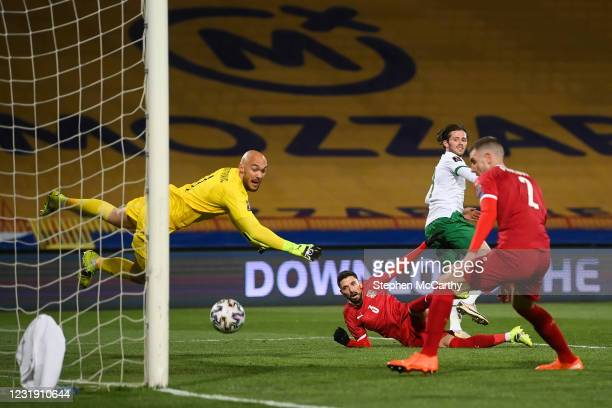 Belgrade , Serbia - 24 March 2021; Alan Browne of Republic of Ireland heads to score his side's first goal during the FIFA World Cup 2022 qualifying...