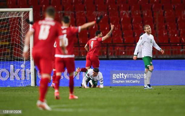 Belgrade , Serbia - 24 March 2021; Aleksandar Mitrovi of Serbia celebrates after scoring his side's third goal during the FIFA World Cup 2022...