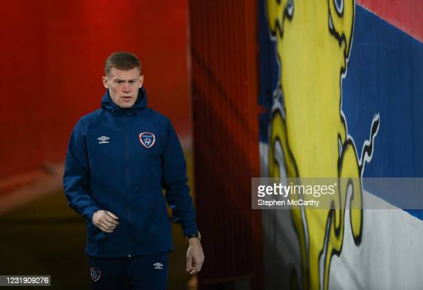 Belgrade , Serbia - 24 March 2021; James McClean of Republic of Ireland ahead of the FIFA World Cup 2022 qualifying group A match between Serbia and...