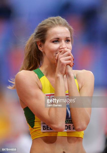 Belgrade Serbia 4 March 2017 Airin Palyt of Lithuania celebrates after winning the Women's High Jump during the European Indoor Athletics...