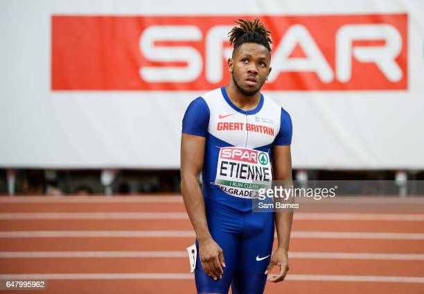 Belgrade Serbia 4 March 2017 Theo Etienne of Great Britain dejected following finishing 5th in the Men's 60m Final during the European Indoor...