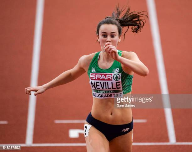 Belgrade Serbia 5 March 2017 Ciara Neville of Ireland competing in her Women's 60m SemiFinal during the European Indoor Athletics Championships Day...