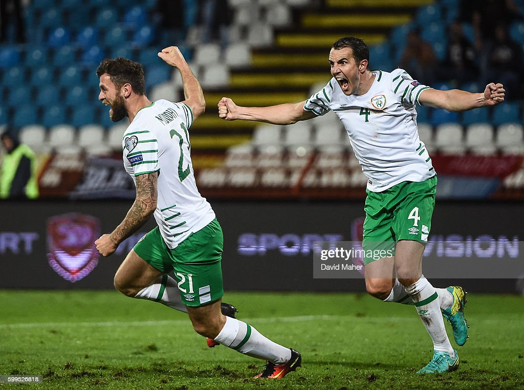 Belgrade , Serbia - 5 September 2016; Daryl Murphy, left, and John O'Shea right, of Republic of Ireland celebrates the side's second goal during the FIFA World Cup Qualifier match between Serbia and Republic of Ireland at the Red Star Stadium in Belgrade, Serbia.