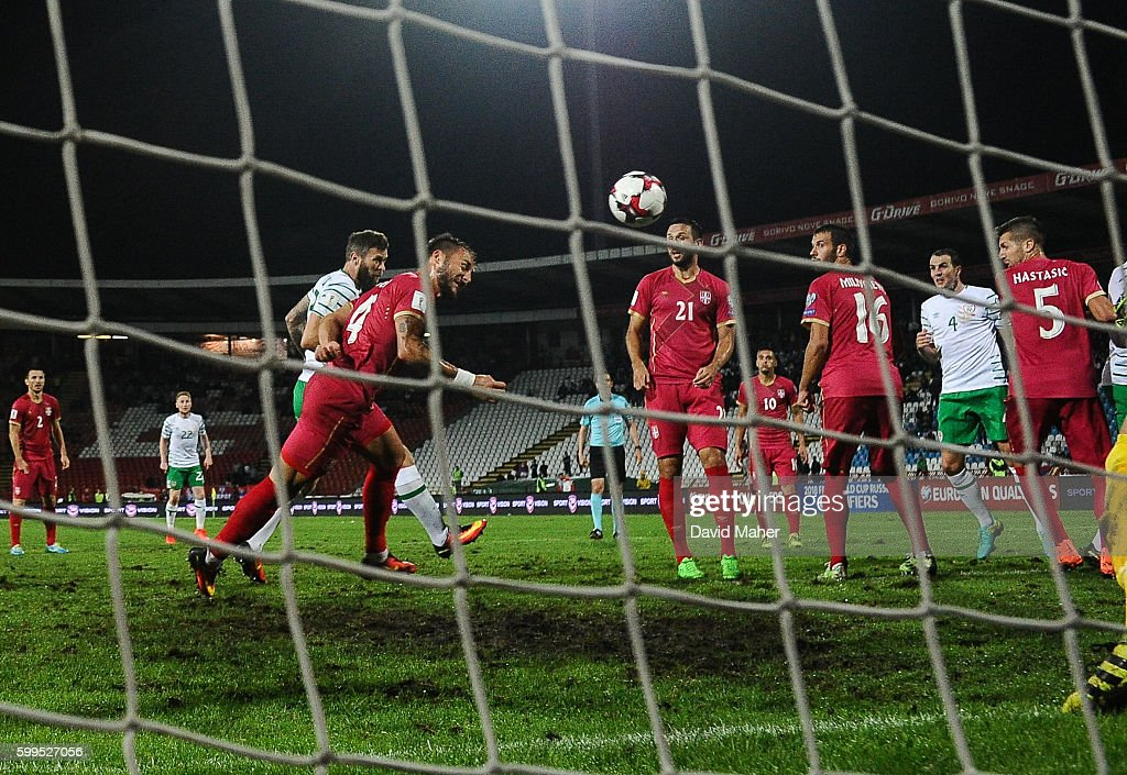 Belgrade , Serbia - 5 September 2016; Daryl Murphy, left of Republic of Ireland scores his side's second goal during the FIFA World Cup Qualifier match between Serbia and Republic of Ireland at the Red Star Stadium in Belgrade, Serbia.