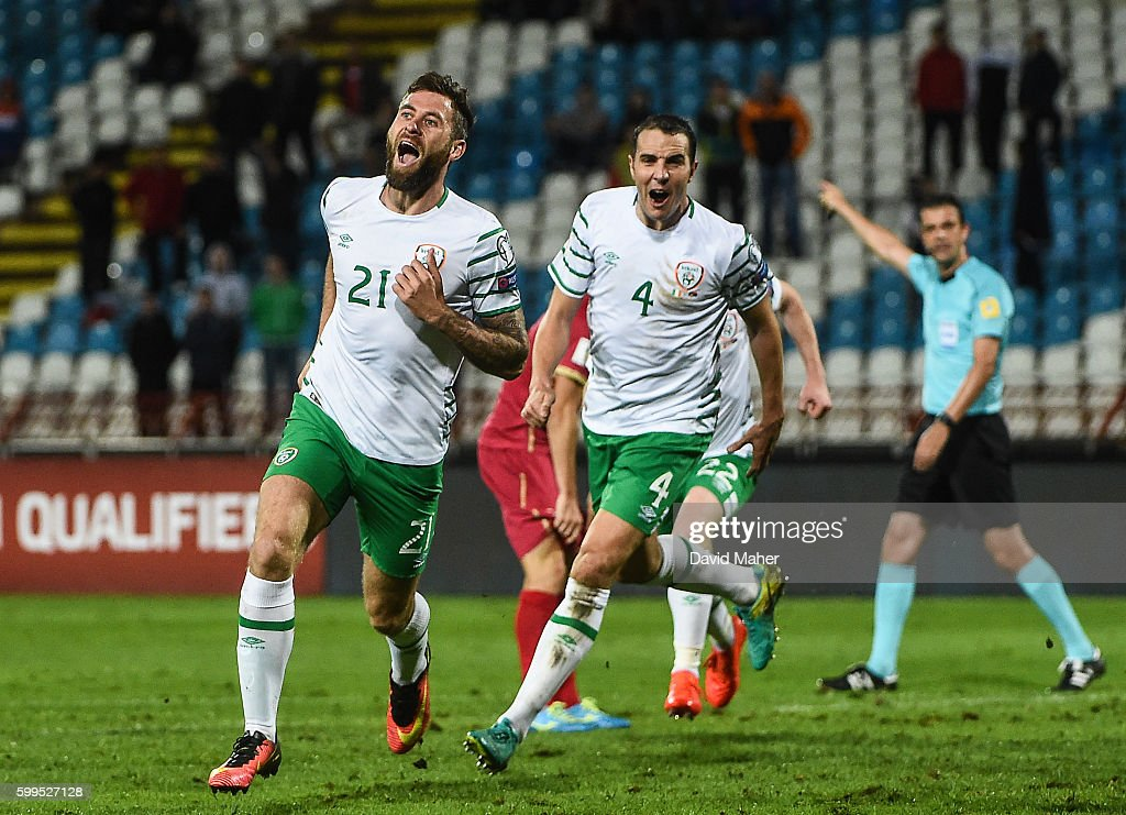 Belgrade , Serbia - 5 September 2016; Daryl Murphy, left, of Republic of Ireland celebrates after he scored his side's second goal with team mate John O'Shea during the FIFA World Cup Qualifier match between Serbia and Republic of Ireland at the Red Star Stadium in Belgrade, Serbia.