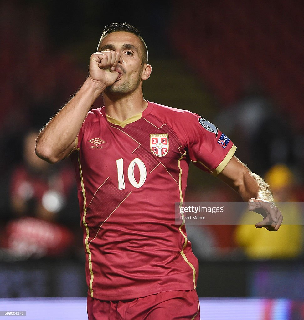Belgrade , Serbia - 5 September 2016; Dusan Tadic of Serbia celebrates scoring his side's second goal during the FIFA World Cup Qualifier match between Serbia and Republic of Ireland at the Red Star Stadium in Belgrade, Serbia.