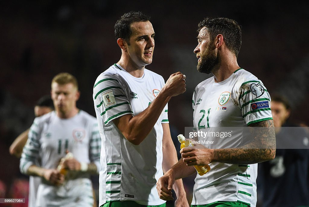 Belgrade , Serbia - 5 September 2016; John O'Shea, left, congratulates Daryl Murphy of Republic of Ireland after the FIFA World Cup Qualifier match between Serbia and Republic of Ireland at the Red Star Stadium in Belgrade, Serbia.
