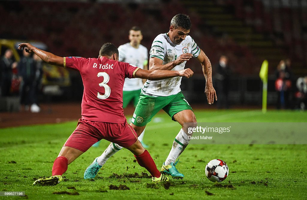 Belgrade , Serbia - 5 September 2016; Jon Walters of Republic of Ireland in action against Dusko Tosic of Serbia during the FIFA World Cup Qualifier match between Serbia and Republic of Ireland at the Red Star Stadium in Belgrade, Serbia.