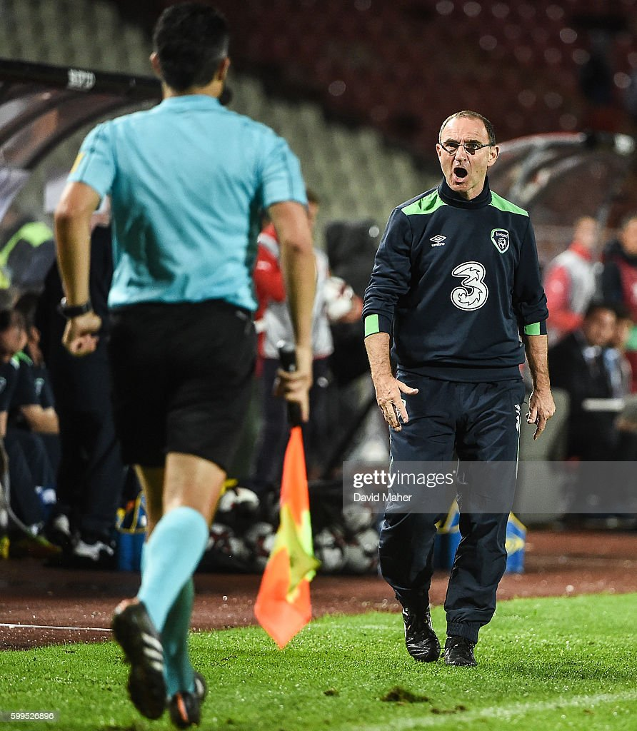 Belgrade , Serbia - 5 September 2016; Martin O'Neill manager of Republic of Ireland reacts to the linesman after a goal for his side was disallowed during the FIFA World Cup Qualifier match between Serbia and Republic of Ireland at the Red Star Stadium in Belgrade, Serbia.