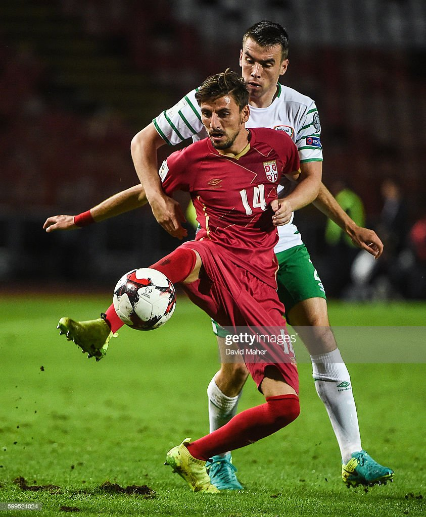 Belgrade , Serbia - 5 September 2016; Seamus Coleman of Republic of Ireland in action against Filip Mladenovic of Serbia during the FIFA World Cup Qualifier match between Serbia and Republic of Ireland at the Red Star Stadium in Belgrade, Serbia.